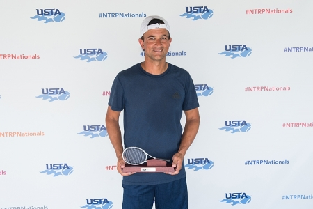 March 31, 2019 – Alex Bose holds the trophy after winning second place in the 5.0 division during the USTA NTRP Nationals 18 & Over Men's & Women's 3.0, 3.5,4.0, 4.5, 5.0 Singles at Academia Sanchez-Casal Florida in Naples, Florida.