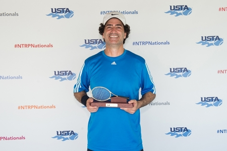 March 31, 2019 – Ara Toroyan holds the trophy after winning first place in the 3.5 division during the USTA NTRP Nationals 18 & Over Men's & Women's 3.0, 3.5,4.0, 4.5, 5.0 Singles at Academia Sanchez-Casal Florida in Naples, Florida.