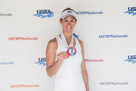 March 31, 2019 – Jana Bridge with her medal after winning third place during the USTA NTRP Nationals 18 & Over Men's & Women's 3.0, 3.5,4.0, 4.5, 5.0 Singles at Academia Sanchez-Casal Florida in Naples, Florida.