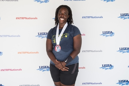 March 31, 2019 – Shakiya Drayton with her medal after winning fourth place during the USTA NTRP Nationals 18 & Over Men's & Women's 3.0, 3.5,4.0, 4.5, 5.0 Singles at Academia Sanchez-Casal Florida in Naples, Florida.