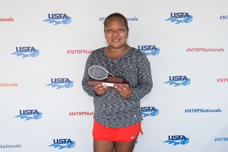 March 31, 2019 – Shanel Angala holds the trophy after winning second place in the 3.5 division during the USTA NTRP Nationals 18 & Over Men's & Women's 3.0, 3.5,4.0, 4.5 Singles at Academia Sanchez-Casal Florida in Naples, Florida.