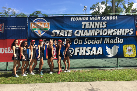 Maras and her teammates at the 2019 Florida High School Tennis State Championships