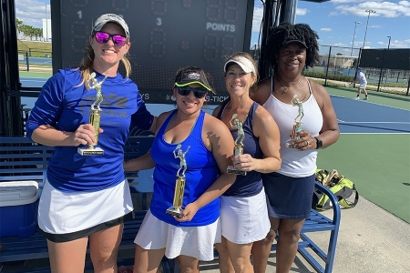 Women's 4.0 Doubles -- 1st Place: Jenn Wysocki, Samantha Gonzalez -- 2nd Place: Jennifer Carter, Jacqueline Harris