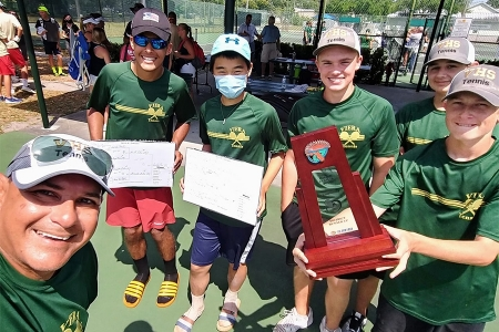 Manuel Rosales with students at the 2021 Florida High School State Championships