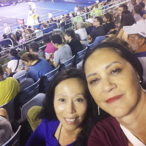 Milena and a friend at the Delray Beach Open