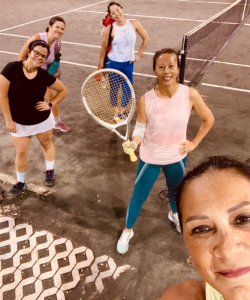 On the court with friends