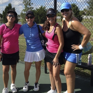 Miriam with her first doubles partner and their opponents