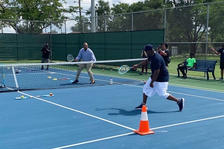Miami Gardens Mayor Oliver G. Gilbert III  on the court