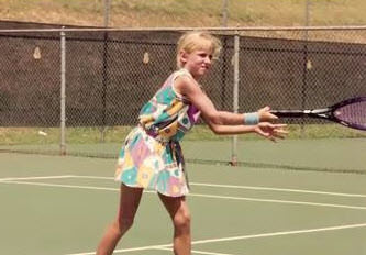 Bethanie Mattek-Sands as a 9-year-old already experimenting with her tennis fashion