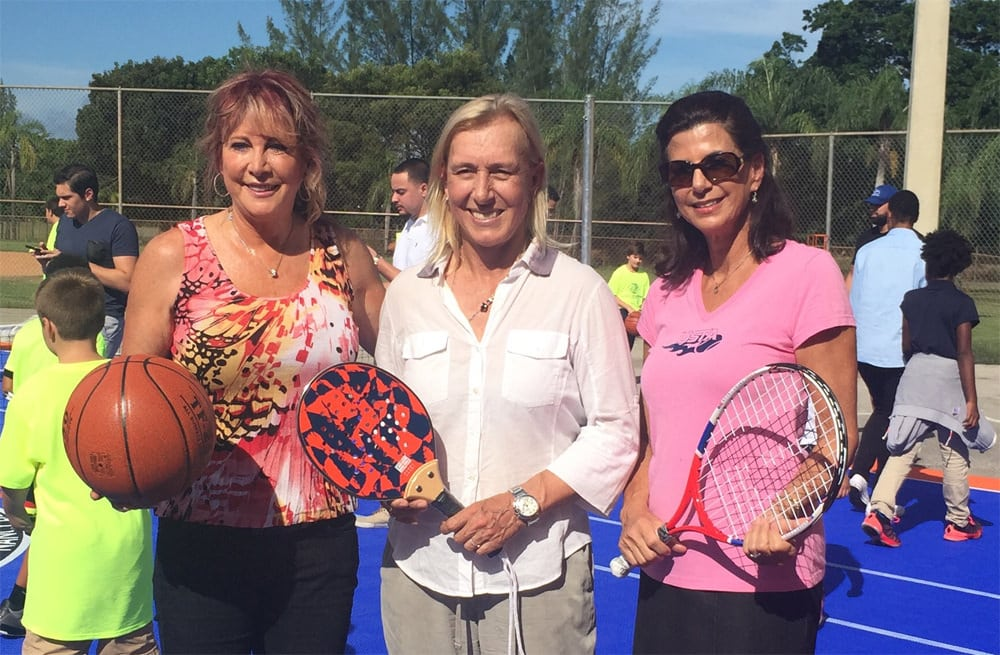 From left: Nancy Lieberman, Martina Navratilova and USTA Florida Tennis Program Coordinator Cathy Nordlund