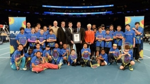The Guinness World Record presentation during the World Tennis Day event at Madison Square Garden
