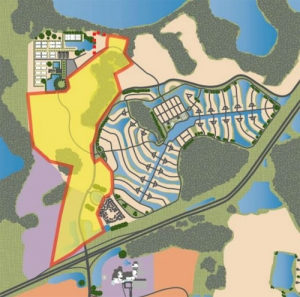 Land for the 'sports cluster' in yellow south of the USTA facility