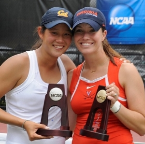 Danielle Collins (right) after winning the NCAA singles championship earlier this year