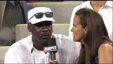 Michael Jordan speaking to ESPN commentator Mary Joe Fernandez